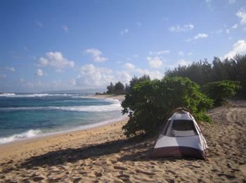 Beach Camping In A Tent